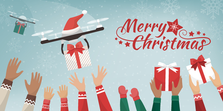 Drones with Santa's hat delivering Christmas gifts to cheerful people with raised hands, they are catching the presents Ilustração