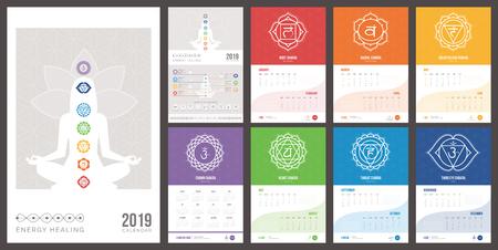 Self healing, meditation and chakras calendar 2019 with yoga poses and mantras