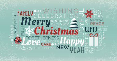 Merry Christmas and happy new year tag cloud with words and icons Иллюстрация