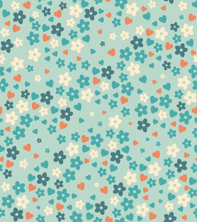 Spring seamless pattern with flowers and hearts Иллюстрация