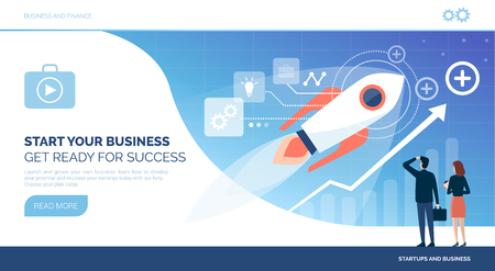 Inicio exitoso y nuevo concepto de negocio con cohetes y gente de negocios mirando un cuadro financiero exitoso