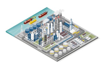 Infografik zu Öl- und Gasindustrie und Produktionsprozess: isometrische Raffinerie, Pipeline und Menschen, die arbeiten Vektorgrafik