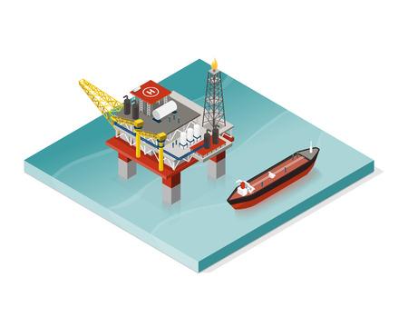 Ölförderplattform und Öltanker: Konzept der petrochemischen Industrie Vektorgrafik