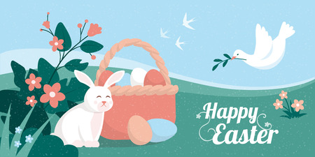 Colorful Easter card with bunny, basket with eggs and dove