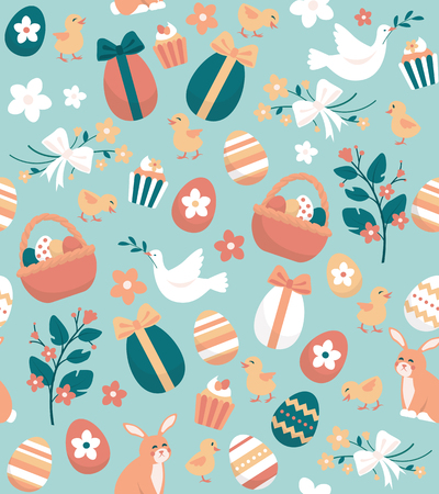 Seamless Easter pattern with eggs, rabbits, flowers and chicks: holidays and celebration