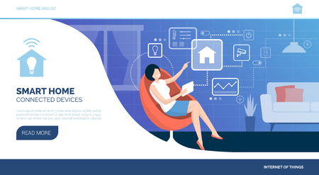 Woman connecting with her smart home device tablet and managing her automated house, iot concept Ilustrace