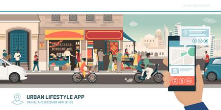Application touristique, navigation et connexions mondiales : touriste voyageant en Inde et utilisant des cartes sur son smartphone pour trouver des lieux Vecteurs