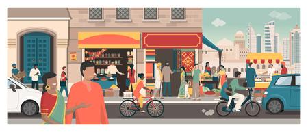 Carte postale d'Inde : concept de voyage et de tourisme, bâtiments traditionnels, personnes et cuisine de rue
