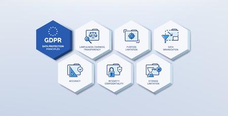 Conjunto de iconos de regulación general de protección de datos (GDPR): principios de seguridad de datos