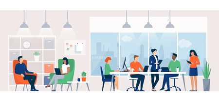 Business people working together in a coworking space, they are connecting with their computers and discussing a project, teamwork concept 일러스트