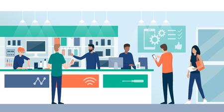 행복한 고객이 전화 수리점에서 쇼핑하고 상점 조수가 일하고, 한 여성이 스크루드라이버, 전자 제품 및 통신 개념을 사용하여 전화를 수리하고 있습니다 벡터 (일러스트)