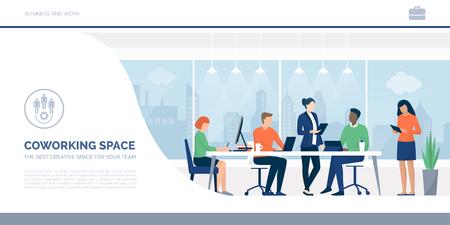 Gente de negocios trabajando juntos en un espacio de trabajo conjunto Ilustración de vector