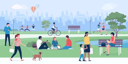 Szczęśliwi ludzie bawiący się w parku, uprawiający sporty, relaksujący i łączący się