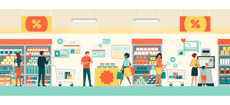 People doing grocery shopping at the supermarket, they are buying products using AR apps on their smartphones and tablets, retail and augmented reality concept Illustration