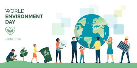 Grupo multiétnico de personas que cooperan por un estilo de vida sostenible y ecológico en el día mundial del medio ambiente.