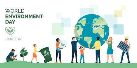 Multiethnic group of people cooperating for a sustainable eco-friendly lifestyle on world environment day