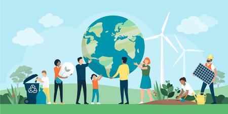 Gruppo multietnico di persone che cooperano per la protezione dell'ambiente e la sostenibilità in un parco Vettoriali