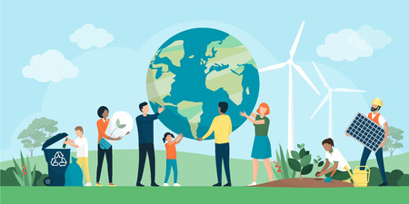 Multiethnic group of people cooperating for environmental protection and sustainability in a park Vector Illustration
