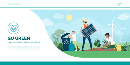 Multiethnic active family helping the environment: the child is recycling waste, the man is installing a solar panel and the woman is growing new plants, eco-friendly lifestyle and sustainability concept
