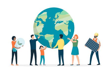 Multiethnic group of people supporting earth and protecting environment, they are choosing renewable energy resources and cooperating together, white background