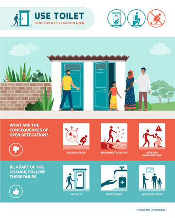 Stop open defecation healthcare and hygiene infographic with stick figures and icons, disease prevention and environmental care concept Stock Vector - 121012665