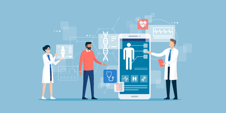 Doctors examining a patient using a medical app on a smartphone, online medical consultation and technology concept 向量圖像