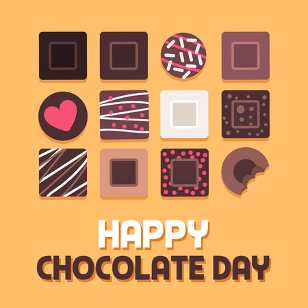 Happy chocolate day social media post with collection of delicious decorated pralines