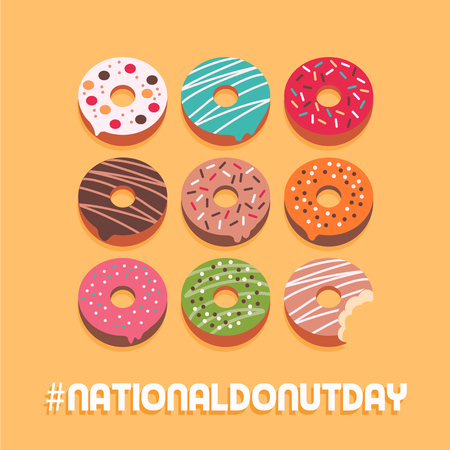 Publication sur les médias sociaux de la journée nationale des beignets et carte publicitaire avec un assortiment de délicieux beignets