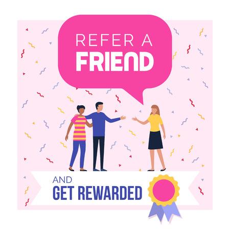 Empfehlen Sie einen Freund und erhalten Sie eine Belohnung für Werbeprogramm-Werbung und Social-Media-Post-Design