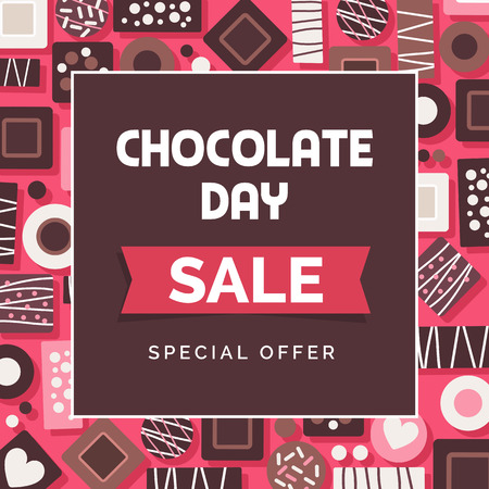 Chocolate day promotional sale social media post with assortment of delicious pralines