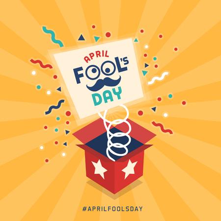 April fools day design with explosive prank box and confetti