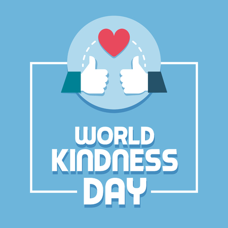 World kindness day and respect social media post with thumbs up and heart Illustration