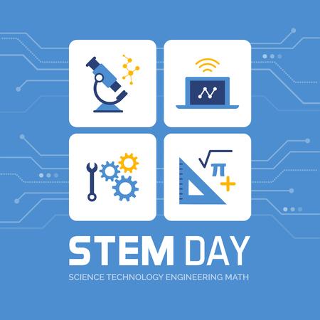 Diseño promocional del día STEM y publicación en redes sociales: ciencia, tecnología, ingeniería y matemáticas Ilustración de vector