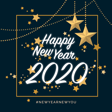 Happy new year 2020 with golden stars, social media post and wish card Ilustracja