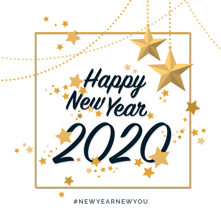 Happy new year 2020 with golden stars, social media post and wish card