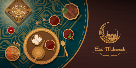 Eid celebration with traditional food and tea on a decorated table, Islamic culture and religion concept