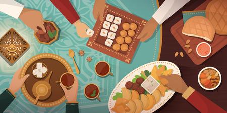 Celebración del Ramadán con comida Iftar: reunión familiar en casa y comer juntos recetas y postres tradicionales Ilustración de vector