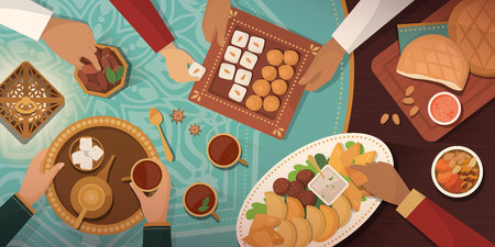 Ramadan celebration with Iftar meal: family gathering at home and eating together traditional recipes and desserts Vector Illustration