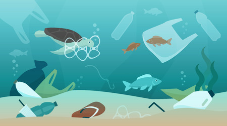 Ocean pollution impact on ecosystem and wildlife animals, sustainability and environmental protection concept Illustration