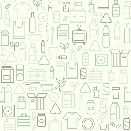 Abfall getrennte Sammlung und Recycling nahtlose Muster und Ökologie Hintergrund Vektorgrafik