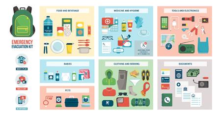 Kit d'évacuation en cas de catastrophe avec fournitures, nourriture, accessoires et vêtements : concept de préparation aux situations d'urgence et de sécurité Vecteurs
