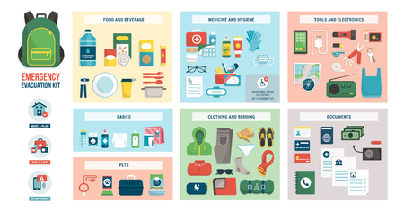 Notfall-Evakuierungsset mit Vorräten, Verpflegung, Zubehör und Kleidung: Notfallvorsorge und Sicherheitskonzept Vektorgrafik