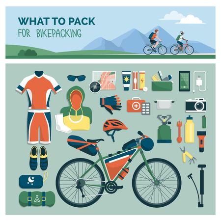 Qué empacar para montar en bicicleta: equipo deportivo y de viaje al aire libre para ciclistas, objetos planos Ilustración de vector