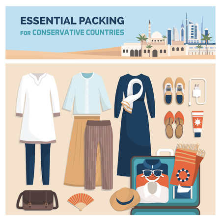 Essential packing for a vacation travel in conservative countries, fashion outfit and accessories, flat lay Vectores