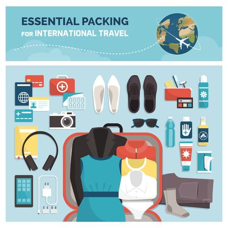 Emballage indispensable pour les voyages internationaux, le tourisme et les vacances : accessoires, vêtements et valise ouverte, vue de dessus