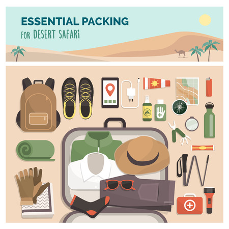 Essential packing for desert safari tour, adventure travel and exploration concept, flat lay equipment and clothing