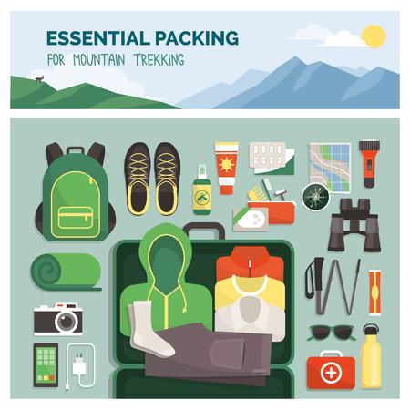 Embalaje esencial para trekking de montaña, viajes al aire libre y deporte, ropa y accesorios vista superior Ilustración de vector