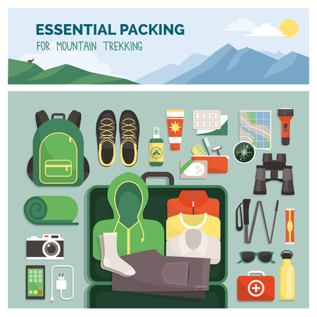 Essential packing for mountain trekking, outdoor travel and sport, clothes and accessories top view Vetores