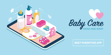 Baby care items and online shopping: baby products on a digital touch screen smartphone Ilustração
