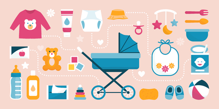 Newborn baby care accessories and items, baby carriage at center: maternity and childhood concept